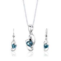 Sterling Silver 2.00 Carats Heart Shape London Blue Topaz Pendant Earrings Set Style SS2840