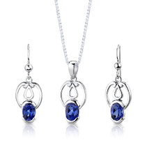 Sterling Silver Oval Shape Sapphire Pendant Earrings Set Style SS2858