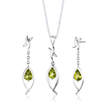 Sterling Silver 2.00 Carats Pear Shape Peridot Pendant Earrings Set Style SS2864