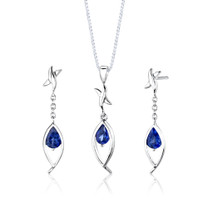 Sterling Silver Pear Shape Sapphire Pendant Earrings Set Style SS2872