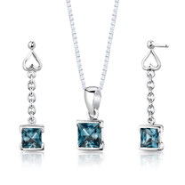 Sterling Silver 2.75 Carats Princess Cut London Blue Topaz Pendant Earrings Set Style SS2938