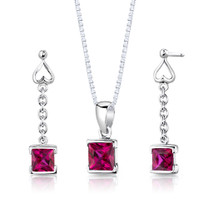 Sterling Silver Princess Cut Ruby Pendant Earrings Set Style SS2940