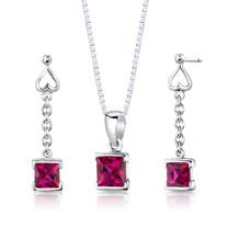 Sterling Silver Princess Cut Ruby Pendant Earrings Set Style SS2940