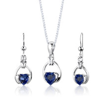Sterling Silver Heart Shape Sapphire Pendant Earrings Set Style SS2970