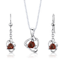 Sterling Silver 2.00 Carats Trillion Cut Garnet Pendant Earrings Set Style SS2974