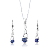 Sterling Silver Round Shape Sapphire Pendant Earrings Set Style SS3012