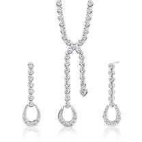 Sterling Silver Lariat Tennis Necklace Earrings Set with White CZ Style SS3100