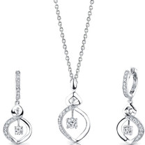 Refined Grace: Sterling Silver Pendant Earrings Set with CZ Style SS3102