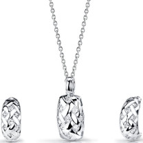 Sterling Silver Pendant Hoop Earrings Set with CZ Style SS3114
