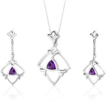 Artful 1.50 carats Trillion Cut Sterling Silver Amethyst Pendant Earrings Set Style SS3124