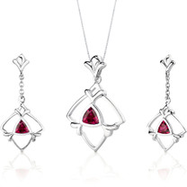 Artful 2.25 carats Trillion Cut Sterling Silver Ruby Pendant Earrings Set Style SS3134