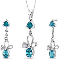 Dynamic 3.25 carats Trillion and Oval Cut Sterling Silver Swiss Blue Topaz Pendant Earrings Set Style SS3158