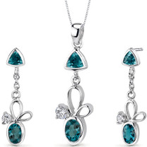 Dynamic 3.25 carats Trillion and Oval Cut Sterling Silver London Blue Topaz Pendant Earrings Set Style SS3160