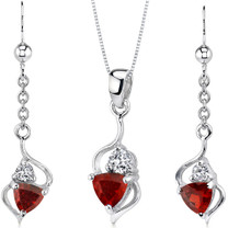 Classy 2.25 carats Trillion Cut Sterling Silver Garnet Pendant Earrings Set Style SS3168