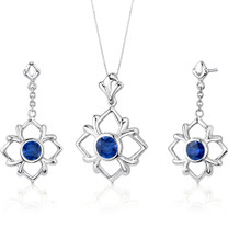 Floral Design 4.00 carats Round Cut Sterling Silver Sapphire Pendant Earrings Set Style SS3220