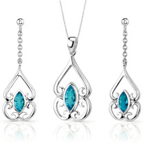 Ornate Style 2.75 carats Marquise Cut Sterling Silver Swiss Blue Topaz Pendant Earrings Set Style SS3228