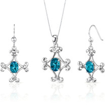 Cross Design 3.50 carats Oval Shape Sterling Silver Swiss Blue Topaz Pendant Earrings Set Style SS3242