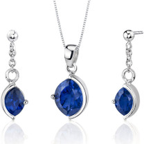 Museum Design 6.00 carats Marquise Cut Sterling Silver Sapphire Pendant Earrings Set Style SS3262