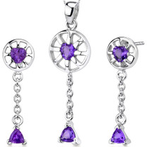 Dainty 1.75 carats Trillion Heart Shape Sterling Silver Amethyst Pendant Earrings Set Style SS3278