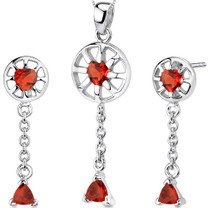 Dainty 2.25 carats Trillion Heart Shape Sterling Silver Garnet Pendant Earrings Set Style SS3280