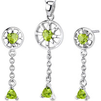 Dainty 2.00 carats Trillion Heart Shape Sterling Silver Peridot Pendant Earrings Set Style SS3282