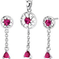 Dainty 2.25 carats Trillion Heart Shape Sterling Silver Ruby Pendant Earrings Set Style SS3288