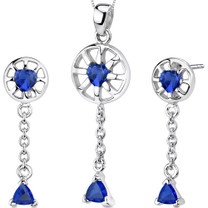 Dainty 2.50 carats Trillion Heart Shape Sterling Silver Sapphire Pendant Earrings Set Style SS3290
