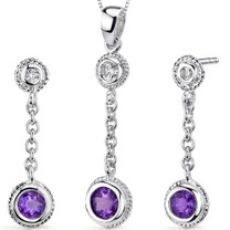 Bezel Set 1.00 carats Round Shape Sterling Silver Amethyst Pendant Earrings Set Style SS3320