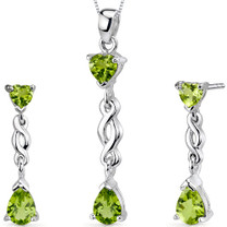 Enchanting 3.25 carats Pear Heart Shape Sterling Silver Peridot Pendant Earrings Set Style SS3338
