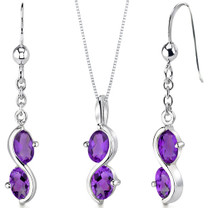 2 Stone 2.25 carats Oval Shape Sterling Silver Amethyst Pendant Earrings Set Style SS3390