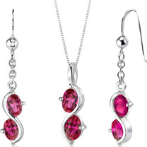 2 Stone 3.75 carats Oval Shape Sterling Silver Ruby Pendant Earrings Set Style SS3400