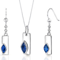 Art Deco 1.25 carats Marquise Shape Sterling Silver Sapphire Pendant Earrings Set Style SS3430