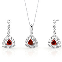 Filigree Design 1.50 carats Trillion Cut Sterling Silver Garnet Pendant Earrings Set Style SS3434