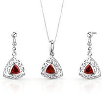 Filigree Design 1.50 carats Trillion Cut Sterling Silver Garnet Pendant Earrings Set Style SS3434