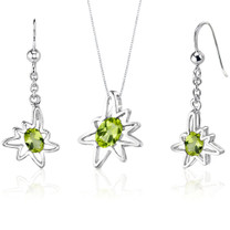 Starburst 1.75 carats Oval Shape Sterling Silver Peridot Pendant Earrings Set Style SS3464