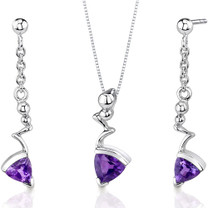 Museum Style 1.50 carats Trillion Cut Sterling Silver Amethyst Pendant Earrings Set Style SS3474