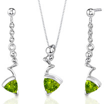 Museum Style 1.75 carats Trillion Cut Sterling Silver Peridot Pendant Earrings Set Style SS3478