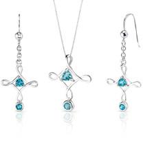 Cross Design 1.50 carats Trillion Cut Sterling Silver Swiss Blue Topaz Pendant Earrings Set Style SS3494