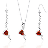 Contemporary Style 1.50 carats Trillion Cut Sterling Silver Garnet Pendant Earrings Set Style SS3518