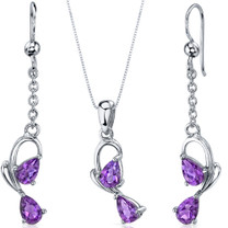 Intricate 2 Stone Design 1.50 carats Sterling Silver Amethyst Pendant Earrings Set Style SS3558