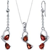 Intricate 2 Stone Design 3.00 carats Sterling Silver Garnet Pendant Earrings Set Style SS3560