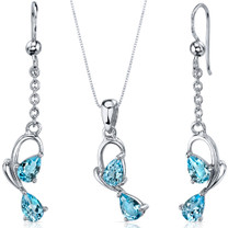 Intricate 2 Stone Design 3.00 carats Sterling Silver Swiss Blue Topaz Pendant Earrings Set Style SS3564