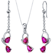 Intricate 2 Stone Design 1.50 carats Sterling Silver Ruby Pendant Earrings Set Style SS3568