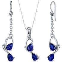 Intricate 2 Stone Design 3.00 carats Sterling Silver Sapphire Pendant Earrings Set Style SS3570