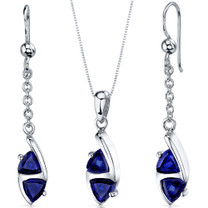 Refined 3.00 carats Trillion Cut Sterling Silver Sapphire Pendant Earrings Set Style SS3584