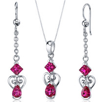 2 Stone Heart Design 2.75 carats Pear Shape Sterling Silver Ruby Pendant Earrings Set Style SS3652
