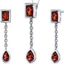 Dangling Dazzle 3.00 carats Oval and Pear Shape Sterling Silver Garnet Pendant Earrings Set Style SS3672