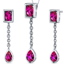 Dangling Dazzle 2.25 carats Oval and Pear Shape Sterling Silver Ruby Pendant Earrings Set Style SS3680