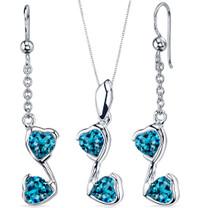 Cupid Duet 3.00 carats Heart Shape Sterling Silver London Blue Topaz Pendant Earrings Set Style SS3692