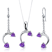 Love Duet 2.25 carats Heart Shape Sterling Silver Amethyst Pendant Earrings Set Style SS3726